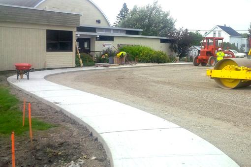 New concrete sidewalk.
