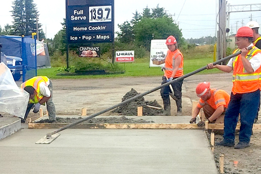 Gas station concrete pad for island pumps.